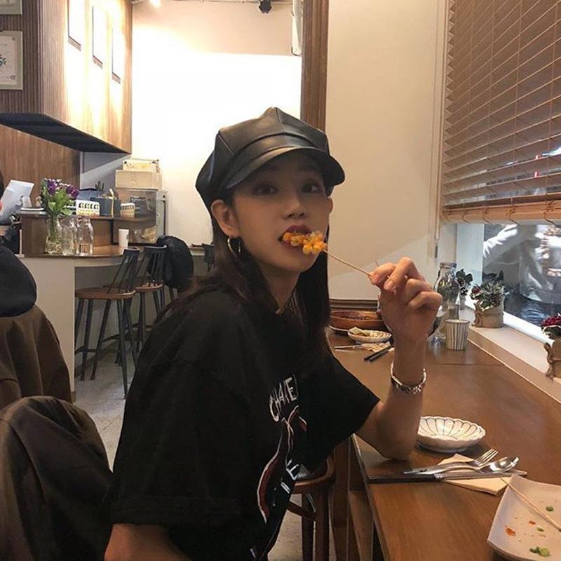 Cuoio ottagonale della protezione dei bambini Autunno Inverno britannico-Style Afflusso di pelle stile coreano Spring Fashion selvaggia Hat Cap Beret