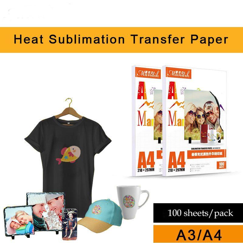 impresora de inyección de tinta 100 hojas de papel de transferencia por sublimación caliente / A4 no sean de algodón color de la luz del papel de transferencia de calor camiseta A3 de secado rápido para hornear pap