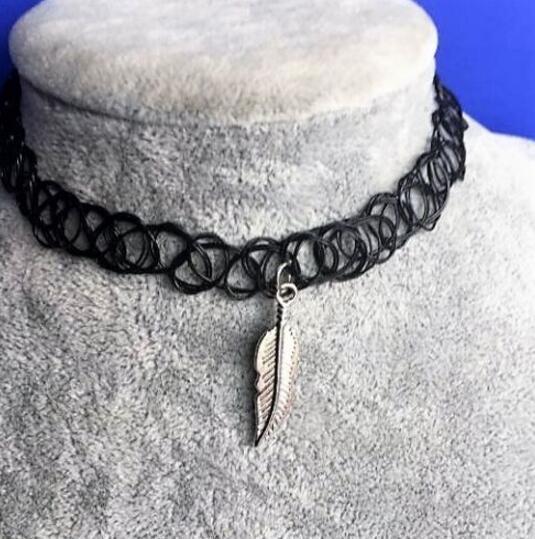 Pflanzenblatt Tattoo Kragen Halskette Schwarz Lederband Anhänger Halskette Männer Dame Anhänger Schmuck Charme Mode-accessoires Handgemachtes Geschenk