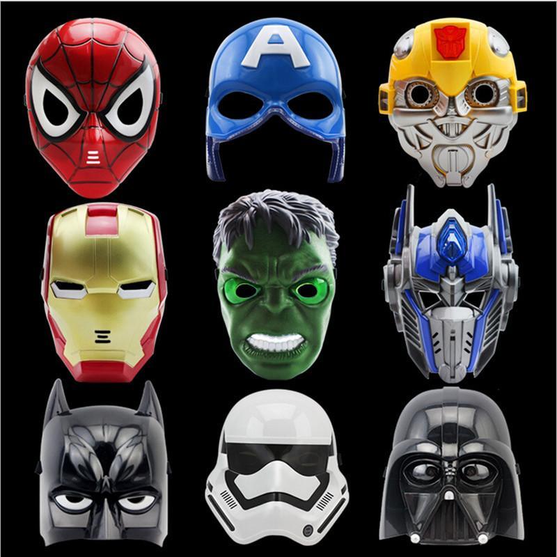 LED Cartoon Movie Masks Superhero Batman Spider Man Captain America Hulk Iron Man Mask for Kids Adults Party Halloween Birthday