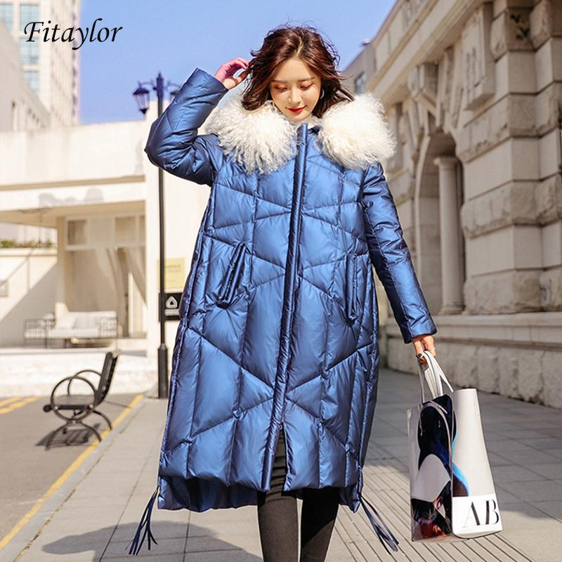 Fitaylor revestimento do inverno Mulheres 90% pato branco para baixo Coats Grande real Fur Collar soltas Parkas Casacos Glossy Waterproof Jackets SH190920