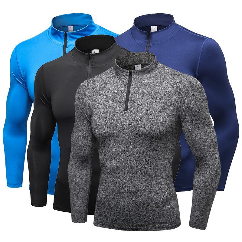 YD новый с длинным рукавом спортивная рубашка мужчины колготки с молнией Quick Dry мужская бег футболка спортивная мужская футболки фитнес Rashgard