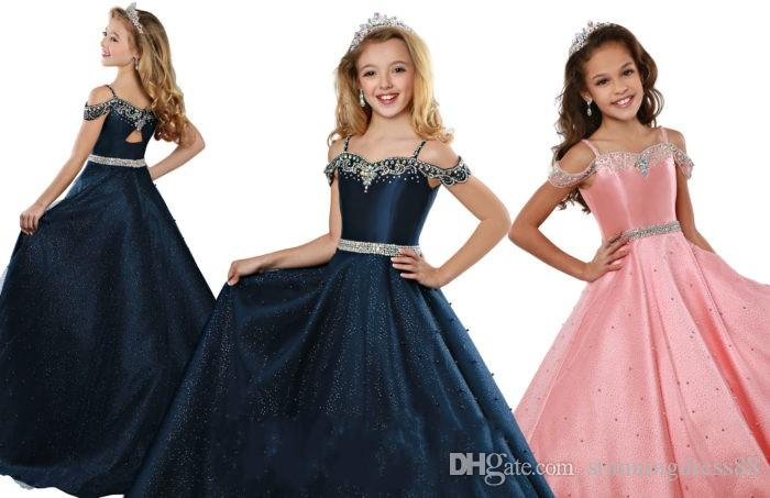 2020 Gorgeous Navy Coral Girls Pageant Dresses Cold shoulder glitz Sequins Skirt Crystal Beaded Cheap Flower Girls First Communion Dress