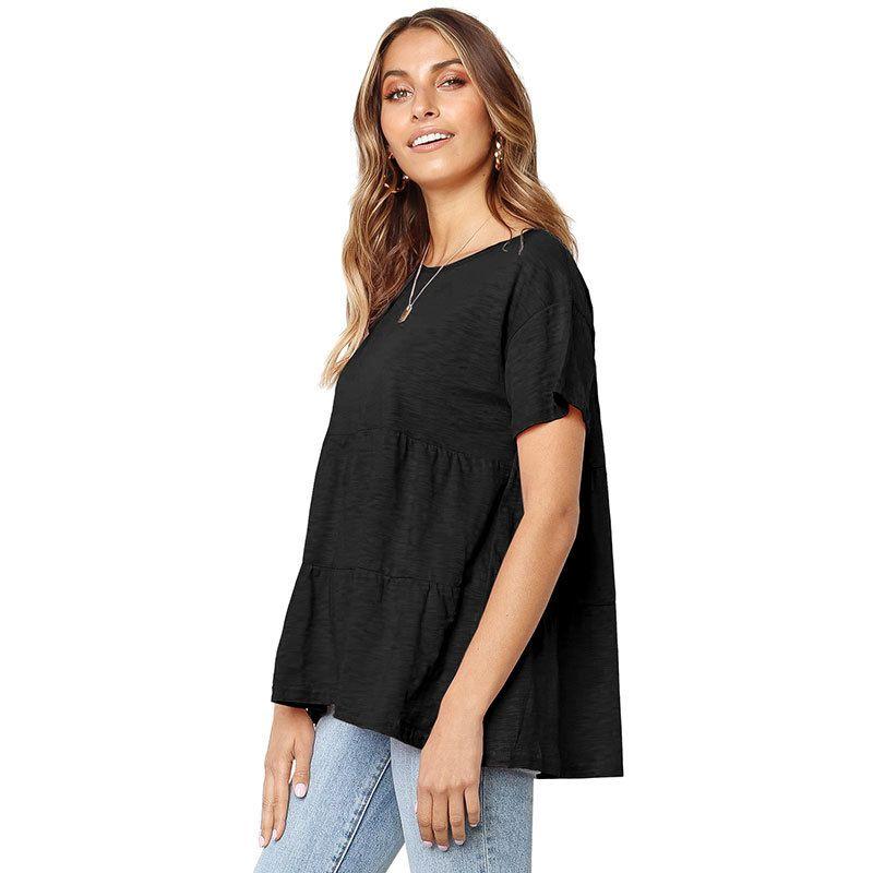 2019 concepteur été nouveau T-shirt modèles d'explosion femme à manches courtes T-shirt de gros des femmes plissés