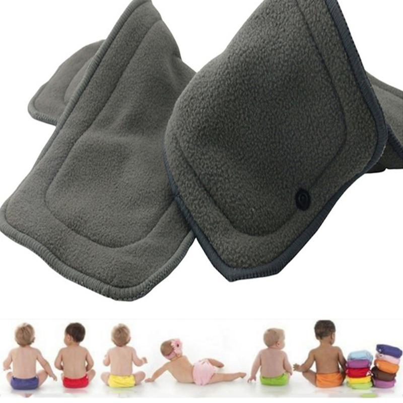 10pcs Reusable Bamboo Charcoal Diapers with Button 4 Layers Washable Liner Diapers Inserts for Newborns Infant Toddler Baby Care