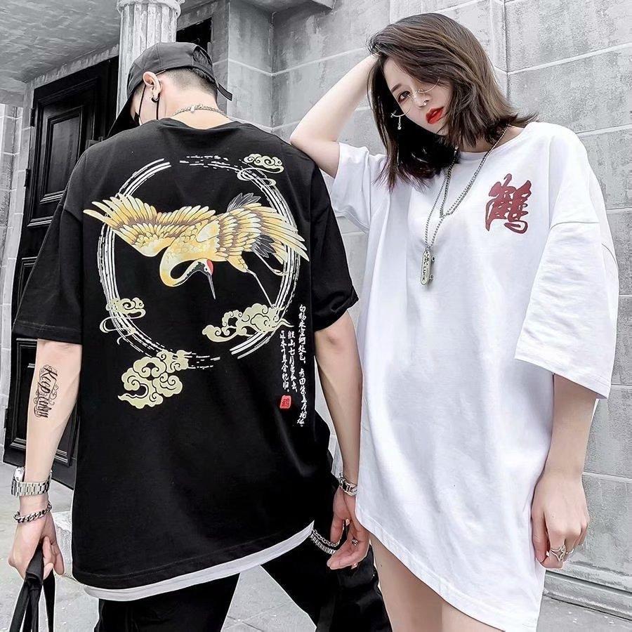 free shipping Mens oversize cotton T Shirt Mens Clothing crane print Summer T Shirt Hip Hop Men Women Short Sleeve Size S-2XL plus size