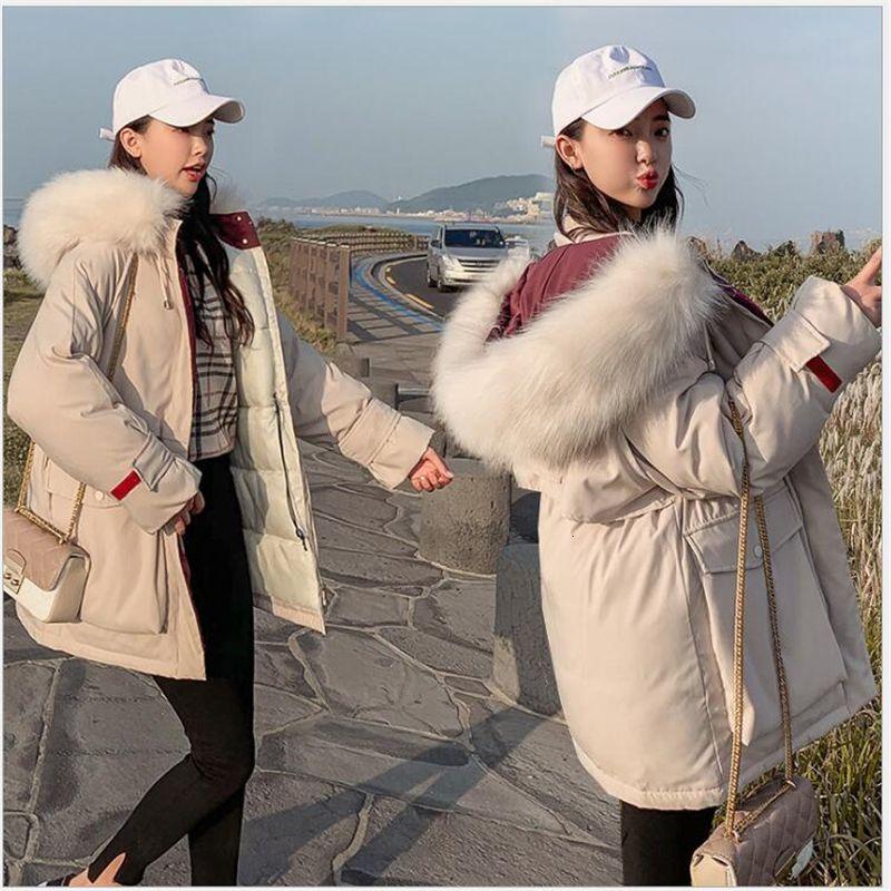 2019 nuovo cappotto di inverno delle donne Fat figlio che indossa il mantello cappotto con cappuccio della pelliccia Parka Femminile Downs Gatti Abbigliamento 222