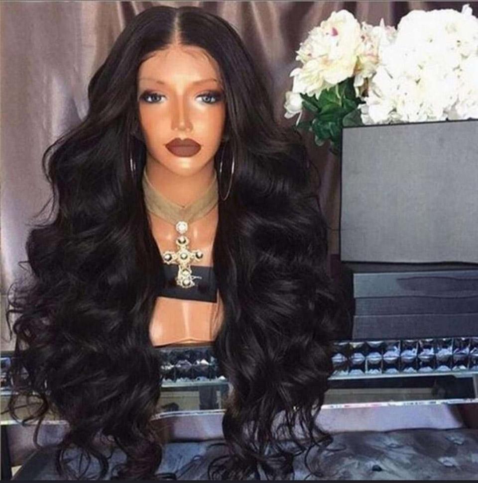 sintética del frente del cordón pelucas sintéticas señoras de pelo ondulada grande Negro largo rizado Estilo de la manera europea del pelo onda del cuerpo humano peluca trenzada pelucas
