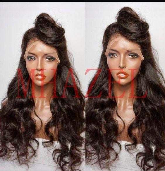 MHAZEL темно-коричневый цвет 2# цвет волос длинные волнистые 26 дюймов 150% braizilian девственные волосы кружева перед парик полный парик шнурка штока