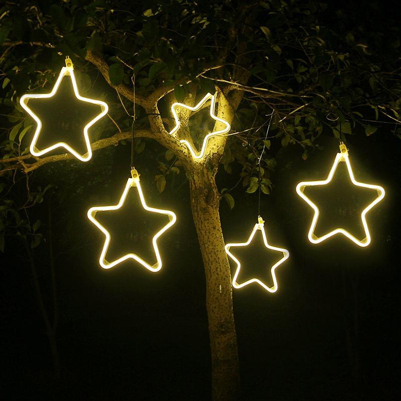 الديكور عيد الميلاد زخرفة ضوء فلاش LED محاكاة ندفة الثلج الأنوار نجم سلسلة الثريا في الهواء الطلق شجرة عيد الميلاد الديكور حزب قلادة