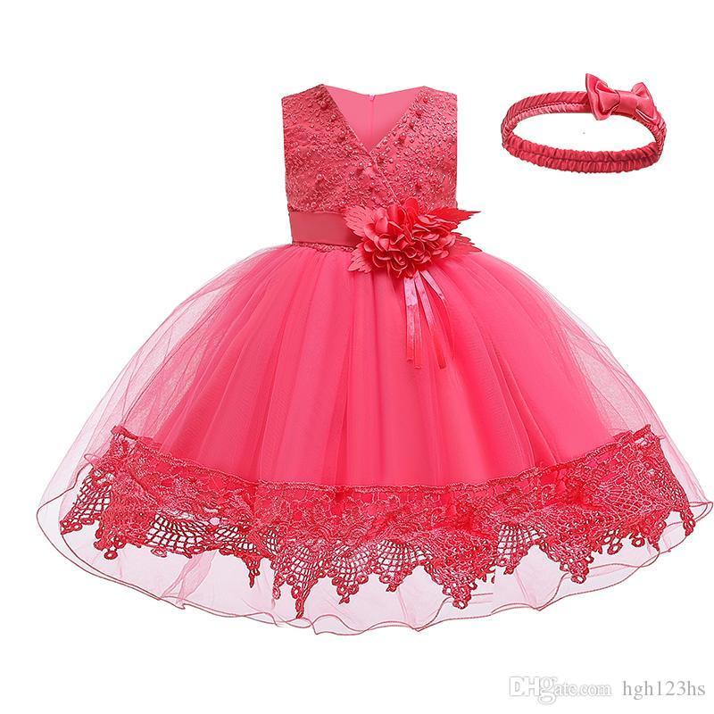 2019 vestito da sera convenzionale principessa cerimonia nuziale, fiore ragazze Abiti Girl Dress Wash bambini del bambino merletto delle ragazze di Tulle scollo a V