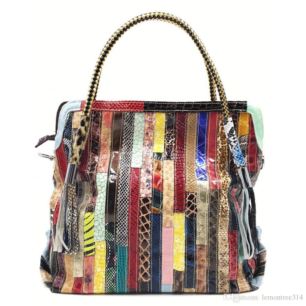 Femmes Vintage Rainbow Handbags Lady Tote Bags Haute Capacité Sac à bandoulière Casual Patchwork Purse Fashion XW95