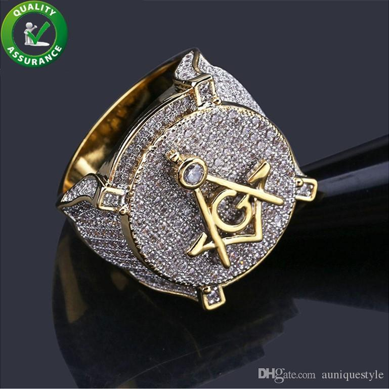 Mens Jewelry Rings Hip Hop Luxury Designer 18K Gold Plated Cluster Iced Out CZ Diamond Ring Men Love Bling Finger Rings Fashion Accessories