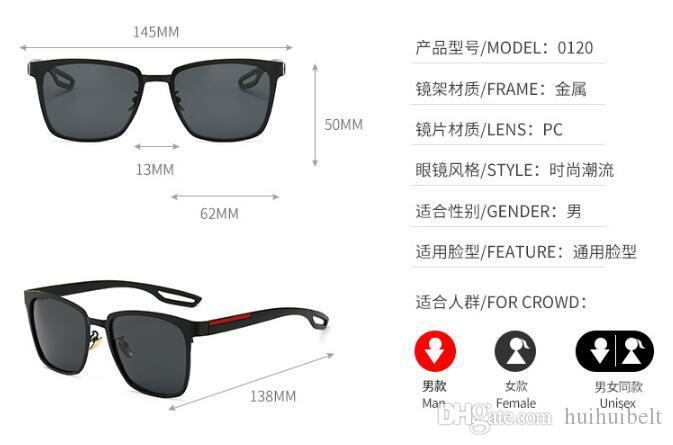 2019 nuevas gafas de sol polarizadas Gafas de sol de alta definición para hombres Espejo anti-UV para ranas Gafas para conducir 0120