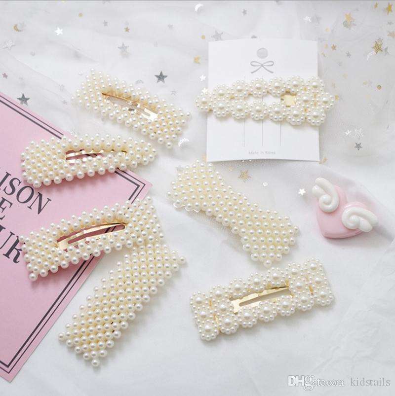 Pinza de pelo elegante de la perla Snap Barrette palillo de horquilla de la manera de las horquillas de moda hecha a mano de perlas accesorios de la pinza de pelo 9 diseños DW4348