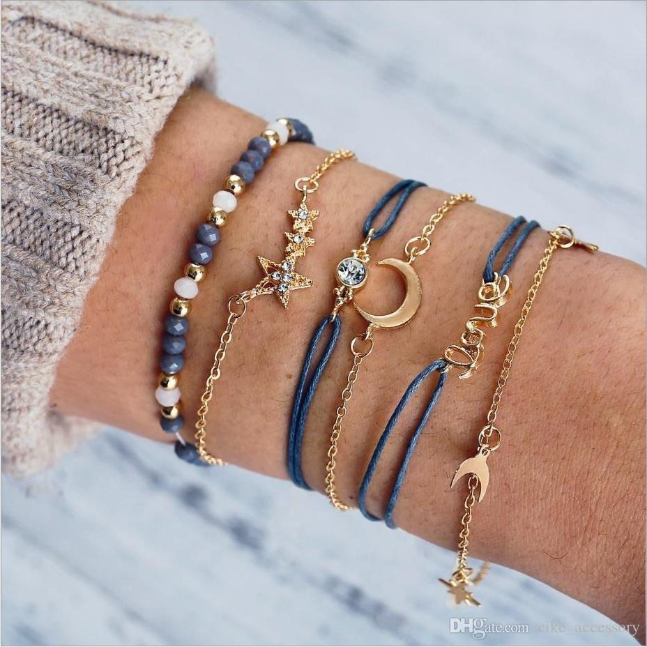 Bracciali di sferette trefoli fascino corda luna metallo catena stella con il diamante d'imitazione AMORE lettera accessorio dorato