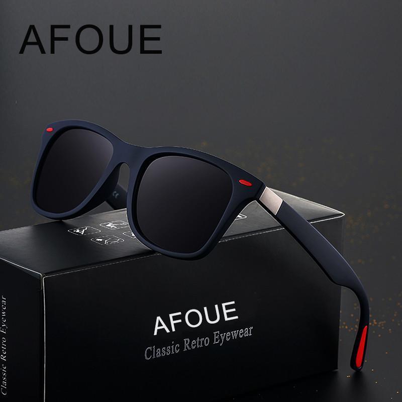 Afoue Brand Design поляризованные очки Женщины площади кадра солнцезащитные очки для мужчин Урожай ретро очки очки UV400 Gafas De Sol eSPJc