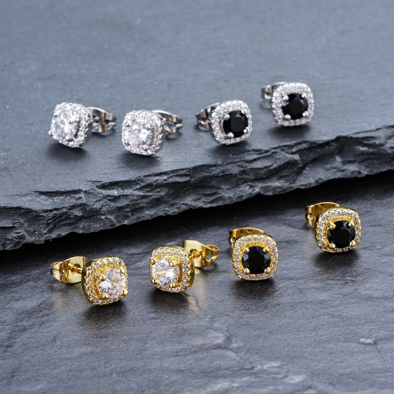 Regalo Hip Hop Mens Orecchini gioielli nuovo modo rotonda Oro Argento Nero Mens Diamante ghiacciato fuori gli orecchini
