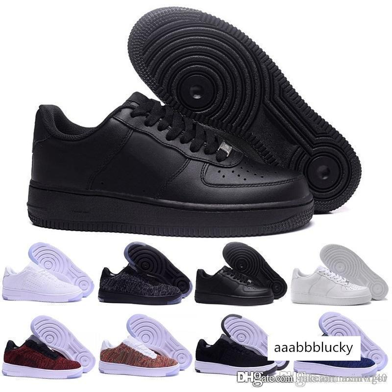 Nouveau Hommes Femmes Air Low Cut Blanc Noir Casual One 1 Chaussures dunk Skateboard baskets classiques Forces Formateurs 36-45