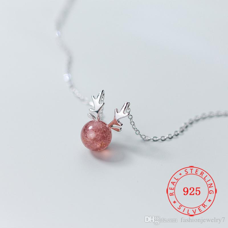 Latest 925 sterling silver strawberry quartz crystal jewelry simple statues deer head pendant designs Christmas horn necklace for gift