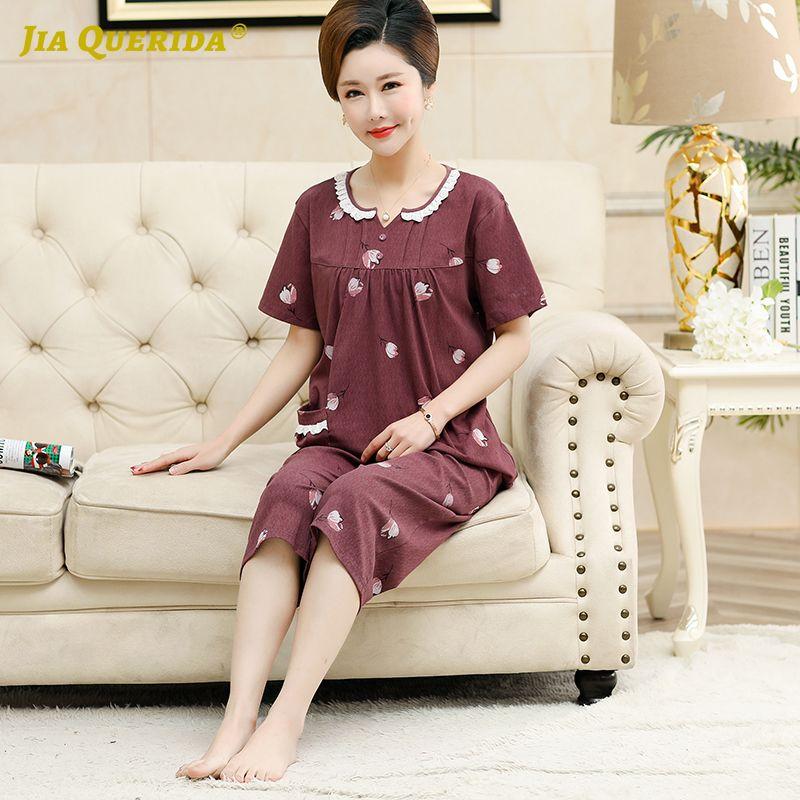 2020 летние женские пижамы комплект короткие рукава длиной до икр O-образным вырезом красный цветок печати хлопок сна носить карманные пижамы для женщин