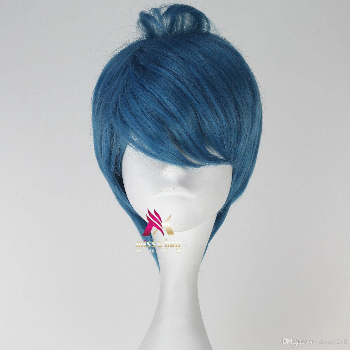 Perruque courte couleur grise bleue film couleur cosplay