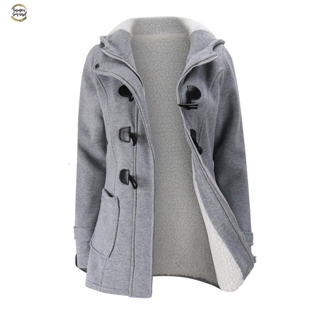 Manteau Veste Femmes capuche en laine mélangée Praka classique Corne Manteau boucle en cuir Veste mince pour dames d'hiver Femme Parka