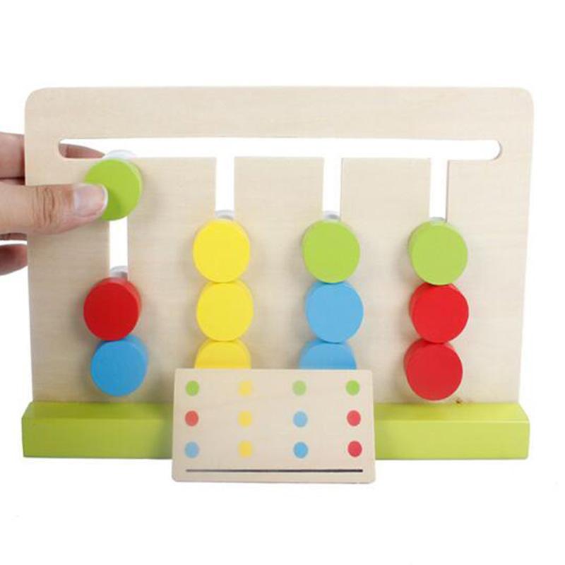 Novo Estilo Crianças Montessori Brinquedos Educativos Jogo de Quatro Cores Vermelho Verde Azul Rodada Pensamento Lógico Treinamento Crianças Brinquedos De Madeira