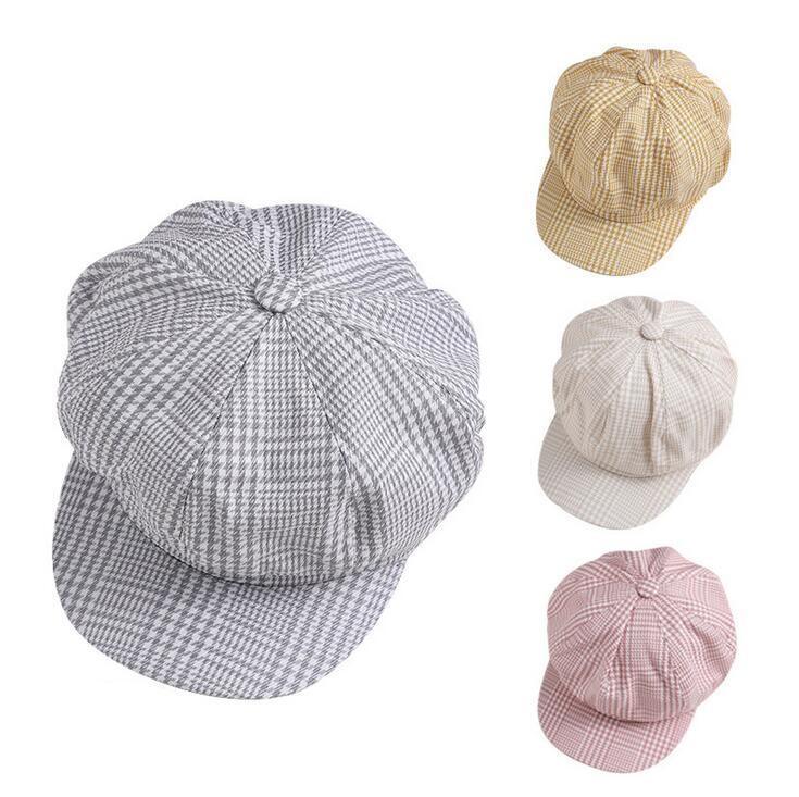 New Fashion Beret Weiblich Flatcap Herbst Winter Frühling Hüte für Frauen Octagonal Cap Painter-Mütze Vintage England Künstler Plaid