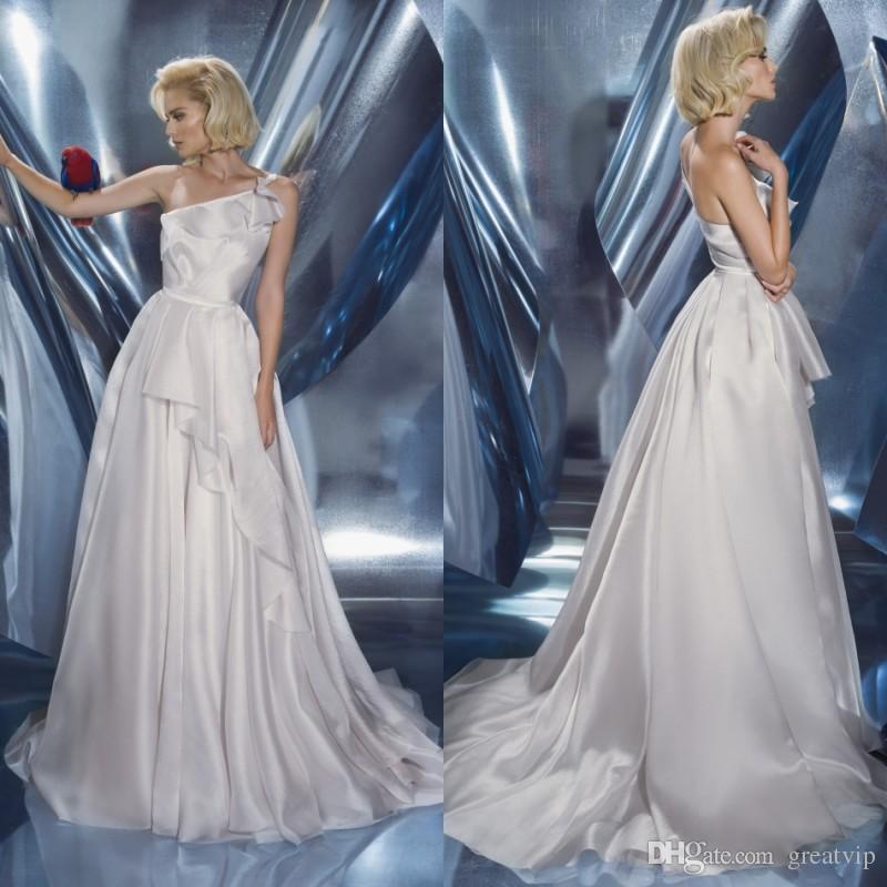 Dany Mizrachi Ivory Beach Wedding Dresses Soft Satin One Shoulder Ruffles Sweep Train Boho Bridal Gowns Plus Size robe de mariée