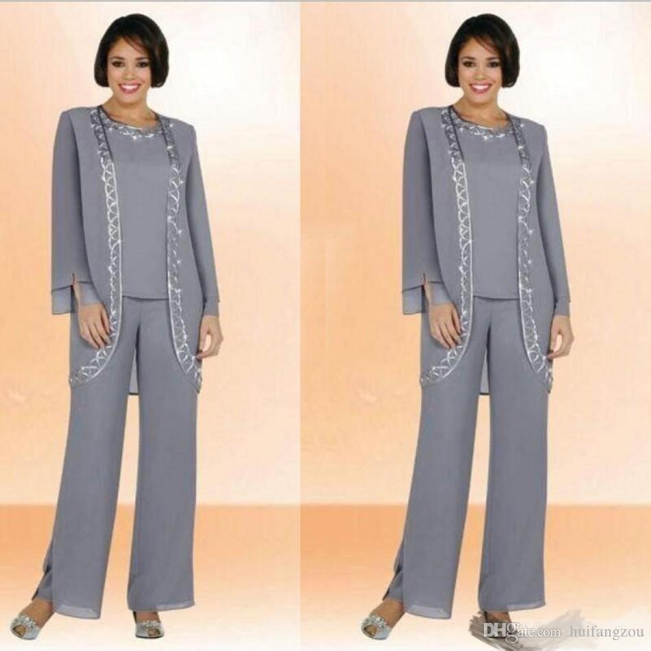 Modest Chiffon Jewel madre lunga degli abiti sposa Pantalone con rivestimento lungo del manicotto poco costoso del ricamo abiti formali su ordine