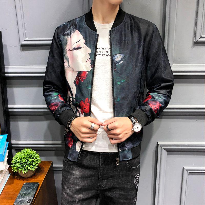 2020 Autumn Men Floral Jacket Girl Print Bomber Baseball Vintage Jackets Mens High Quality Jaqueta Motoqueiro