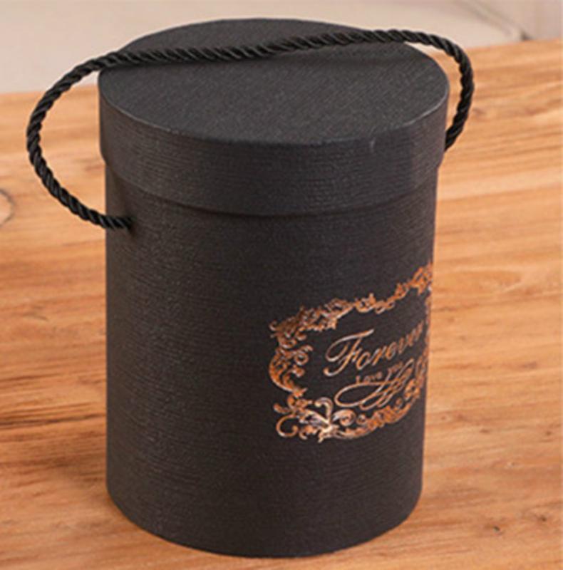 165X120mm Creative Round Flower Buckle Black Gift Boxs Candy Dragee Bragie Battm Wedding Linking with Handles