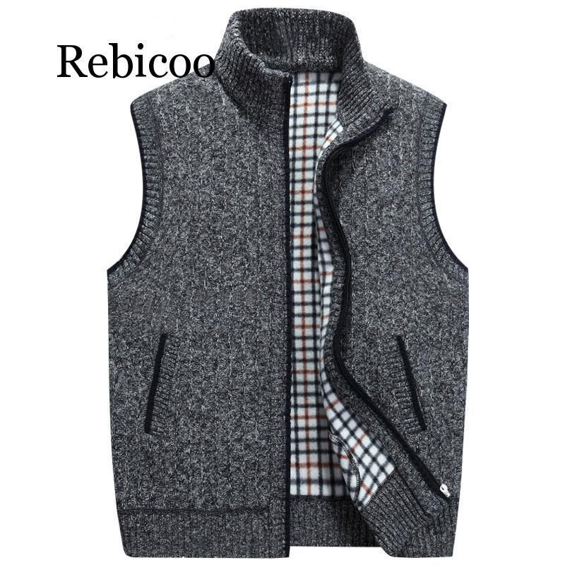 Mens de lã de inverno camisola colete Mens mangas de malha colete jaqueta 2019 New Warm Fleece Sweatercoat
