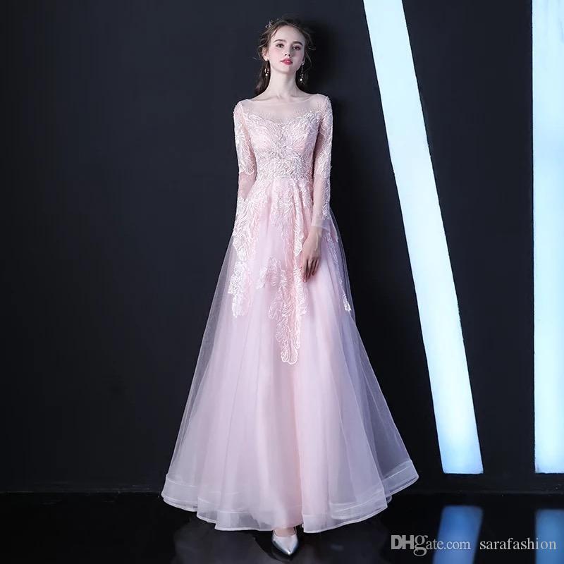 레이스 Appiques 2019 긴 소매 이브닝 가운 바닥 길이 파티 드레스와 핑크 Tulle 이브닝 드레스
