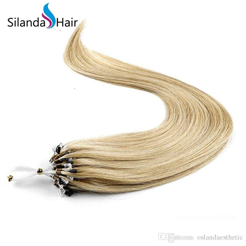 #18 Straight Cold Fusion Bonded Micro Ring Remy Human Hair Extensions 1g/s 50 strands/pack Free Shipping