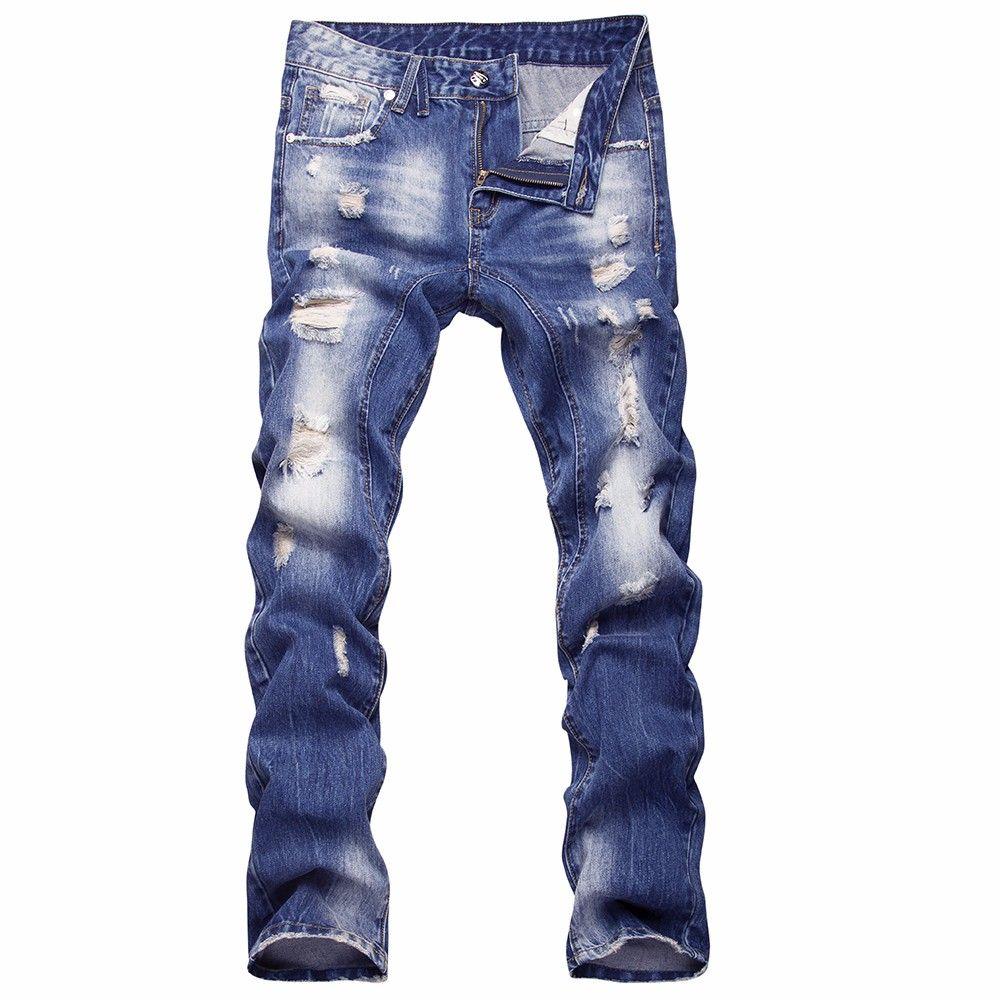 Automne Designer Nouveau Style Trou Patch Slim Hommes Jeans Pantalons Hommes Denim Hip Hop Bleu Pantalon Droit