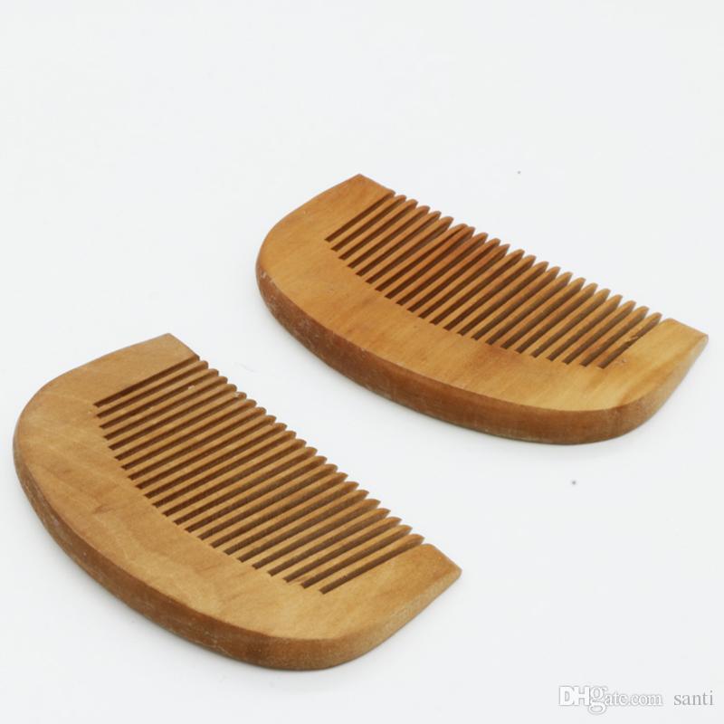 Madera de melocotón Diente fino Peine antiestático para el cabello Cuidado del cabello Regalo de Navidad Pequeño tamaño de bolsillo adecuado para hombres y mujeres