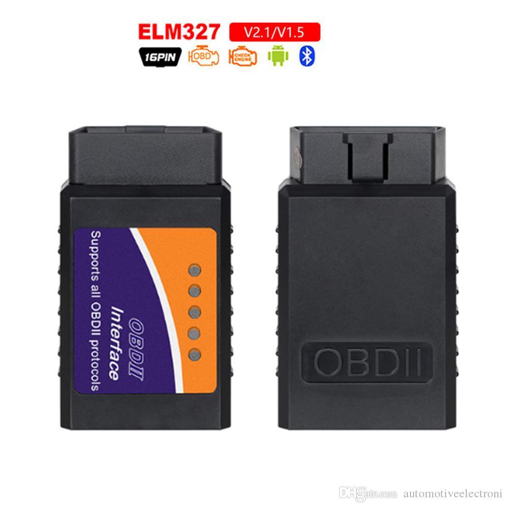 مصغرة ELM327 العلم-327 بلوتوث OBD2 V2.1 رمز القارئ السيارات سكانر الدردار 327 تستر أداة تشخيص محول لالروبوت