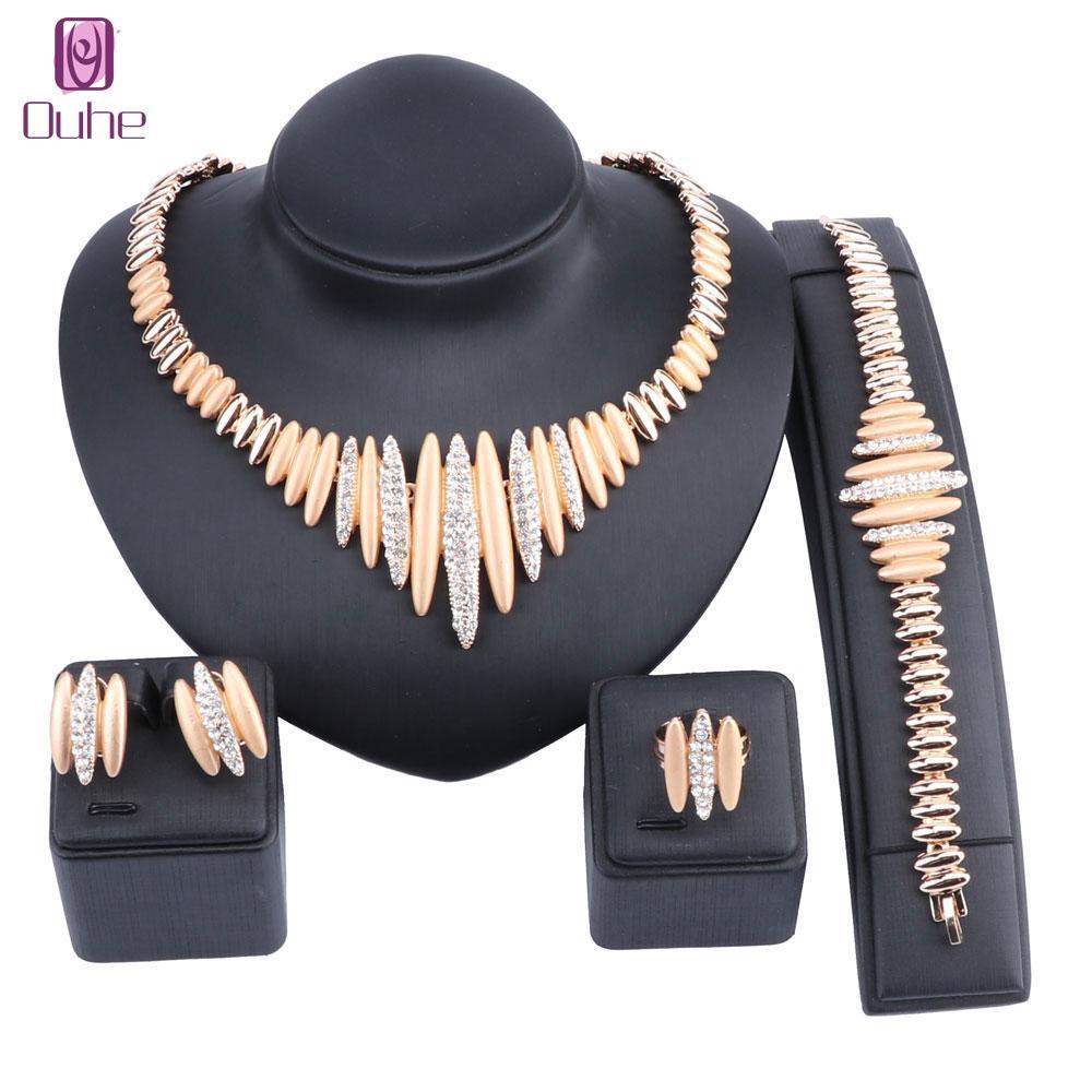 L'ultima moda di alta qualità italiana gioielli Dubai oro colore gioielli imposta perline africani collana di cristallo gioielli