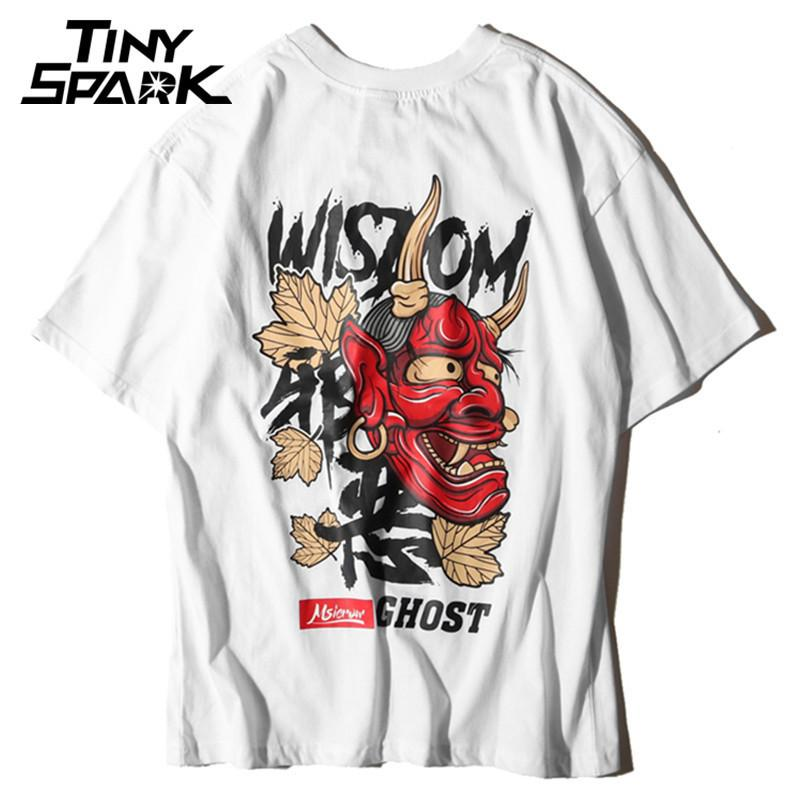Maglietta da uomo Ghost Hip Hop Lettera Stampa Devil Wisdom Mens 100 T-Shirt in cotone Harajuku Nero Abbigliamento per teenager Marca Urban Streetwear Y19072201
