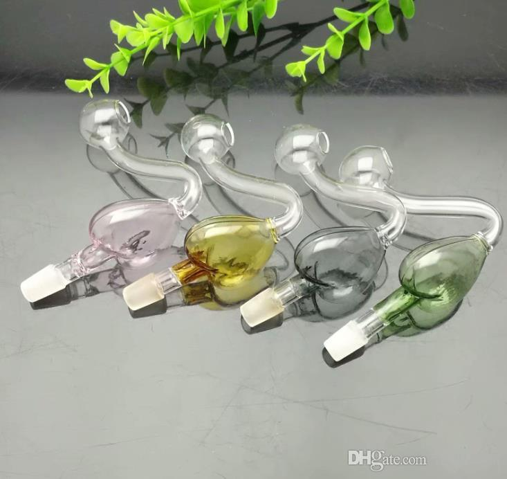 10 milímetros Aumento Caldeira cor de pêssego Coração de vidro Bongos de vidro cachimbo de água Rig Pipes Oil Gravar vidro Bowls Oil