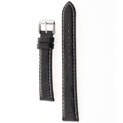 YCYS! 18mm Watch Bracelet Black PU Leather Alloy Buckle Strap Watch