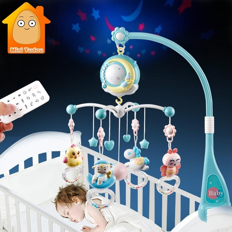 Baby Rattles Crib Mobiles Toy Holder Rotating Mobile Bed Bell Musical Box Projection 0-12 Months Newborn Infant Baby Boy Toys CJ191216