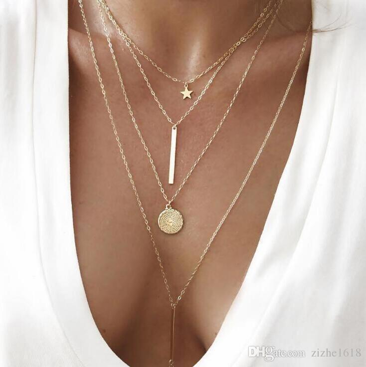 Pingente de colar de 4 peças de ouro Set Star Beach Mulher Summer Girl presente no atacado Pop Jóias