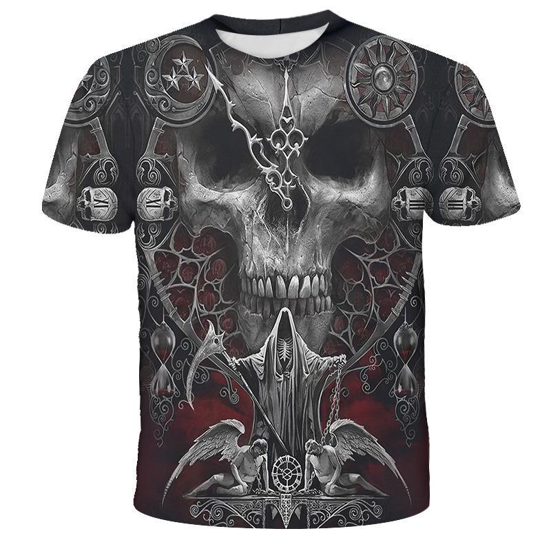Sommer-kühle 3D-Schädel T-Shirt Männer / Frauen Mode Street Hip Hop Harajuku 3D-Drucken Naruto Männer T-Shirt Kleidung Top