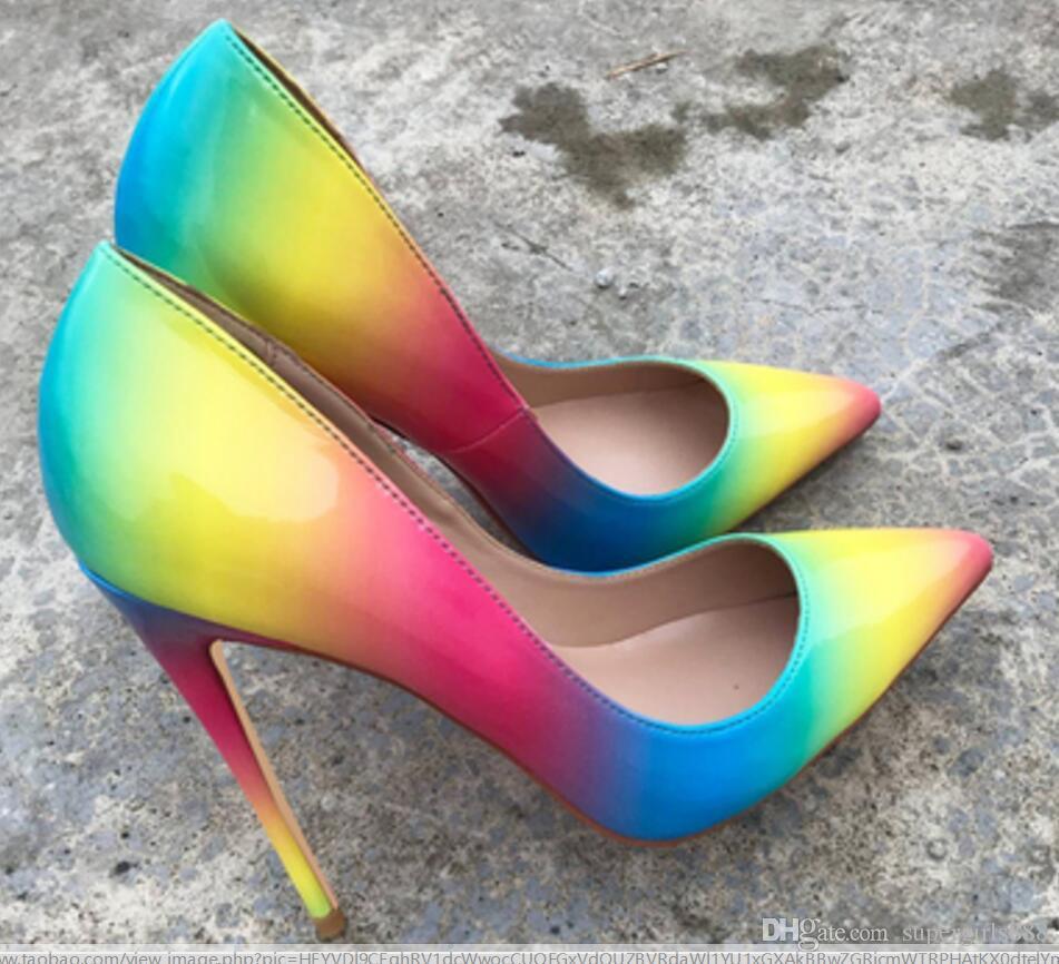 новая Радуга Женские туфли на высоком каблуке 8 см 10 см 12 см острие тонкий каблук одной обуви большой код 44 банкетный танец свадьба ночной клуб Красный нижняя обувь