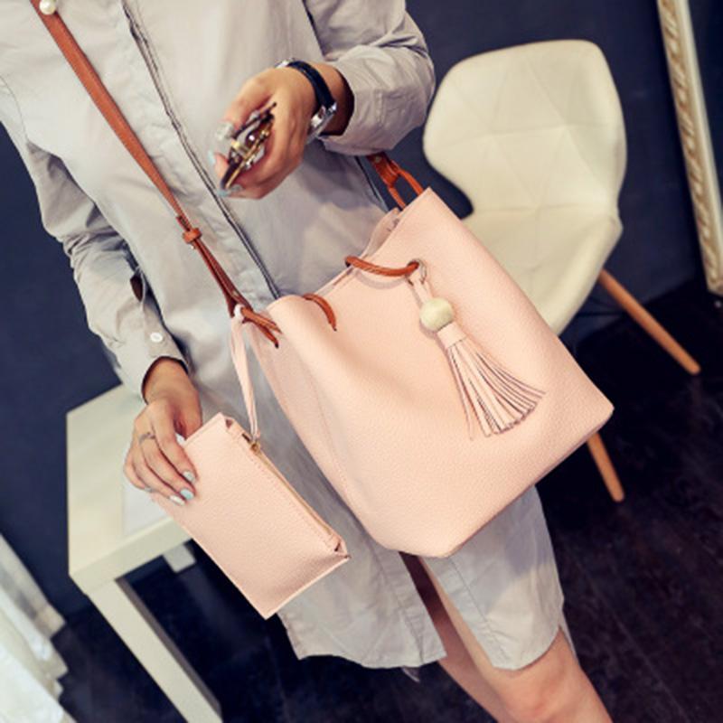 Marka Omuz Çantaları 2in1 Deri Lüks Çanta Cüzdan Kadınlar Için Yüksek Kalite Çanta Tasarımcısı Püsküller Tote çanta Kova çanta Çapraz Vücut