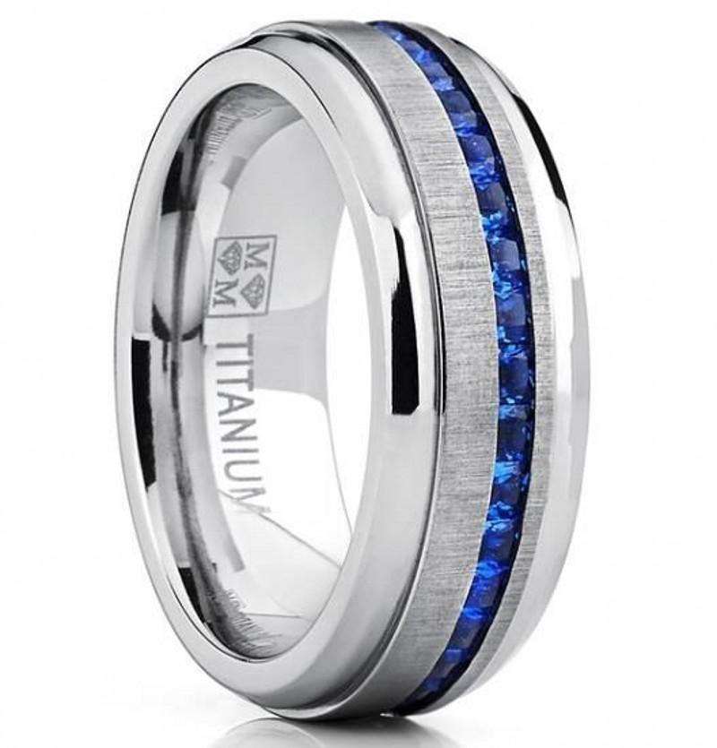 8mm Fashion Trendy Jewelry 18k White Gold Plated Stainless Steel Zircon Couples Wedding Ring Size 8-15