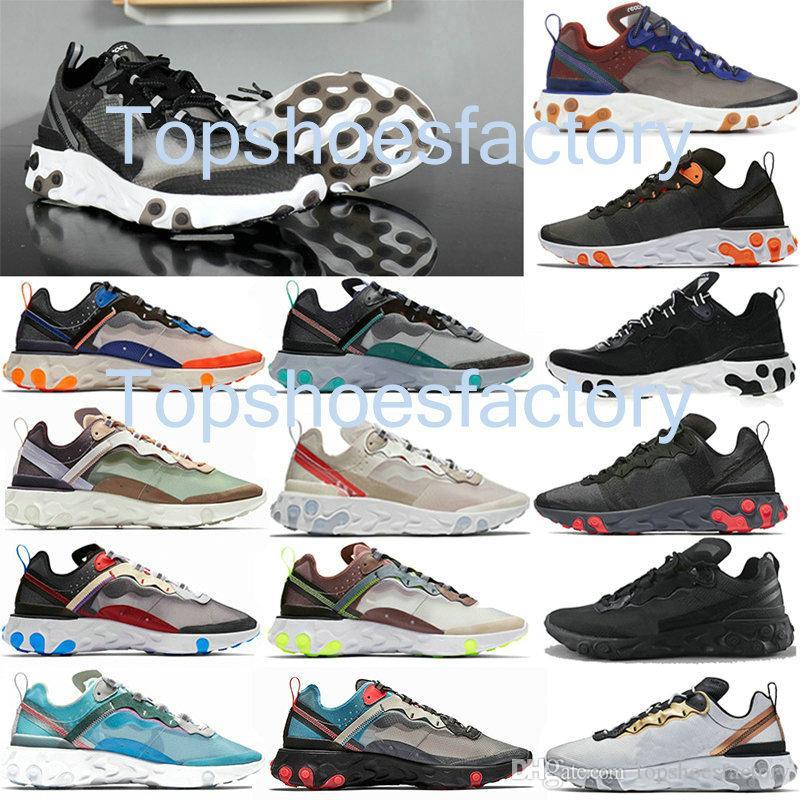 Nike air react element 87 55 Undercover 87 55 React Element 87 55 UNDERCOVER x Paquet à venir blanc marque sneakers Hommes Hommes Designer Chaussures de course Zapatos